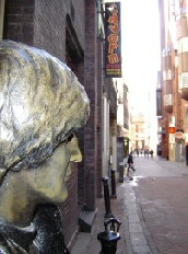 John Lennon looking down Mathew Street in Beatles Liverpool